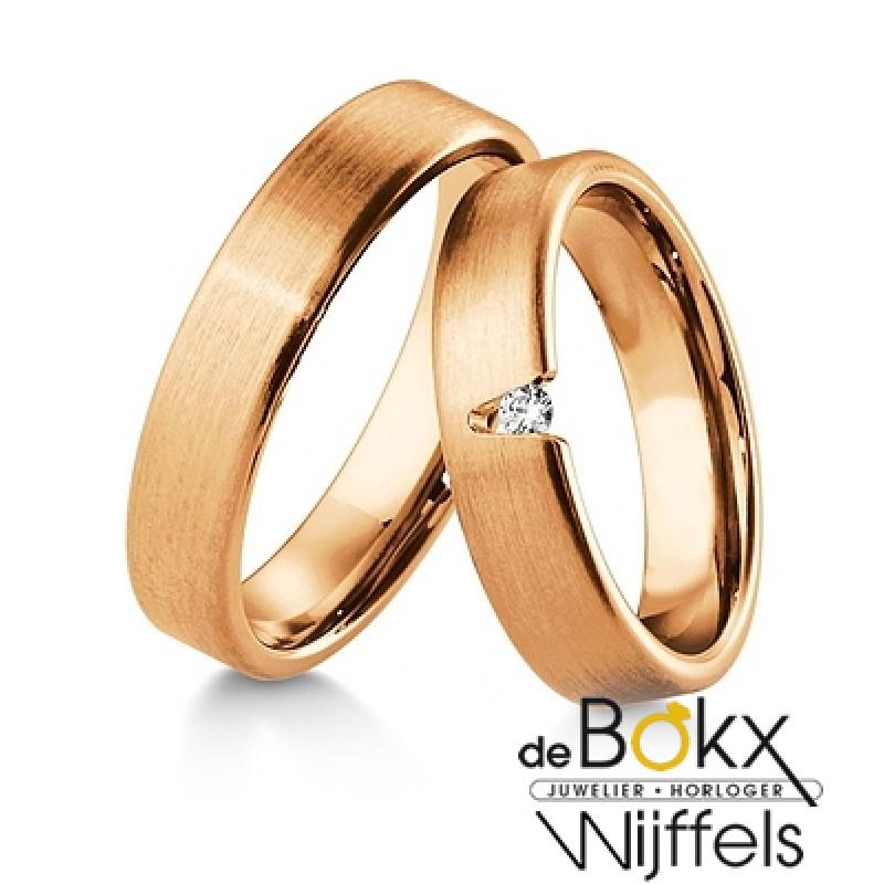 Diamanten trouwringen roze goud - 56917