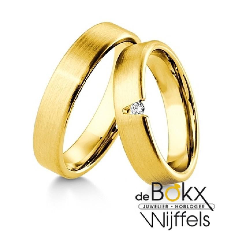 Fantastische Breuning geel gouden trouwringen met ...