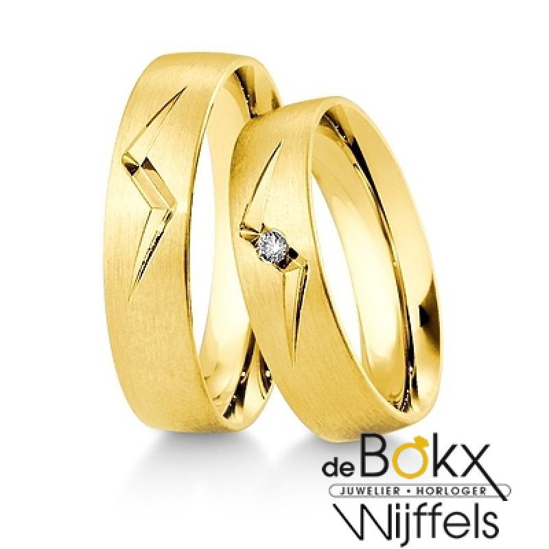 Breuning geel gouden trouwringen met diamant - 554...