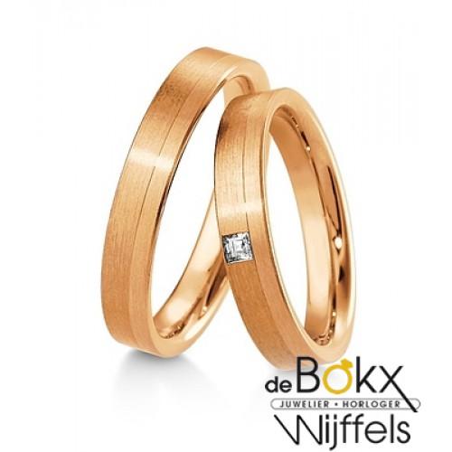 diamanten trouwringen roze goud - 56918
