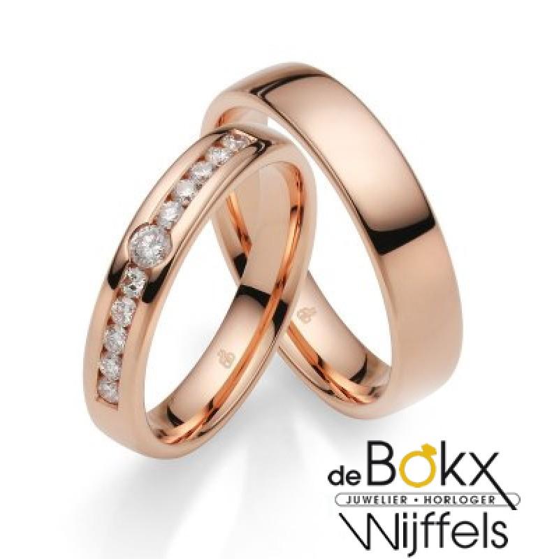 Diamanten trouwringen roze goud - 56919