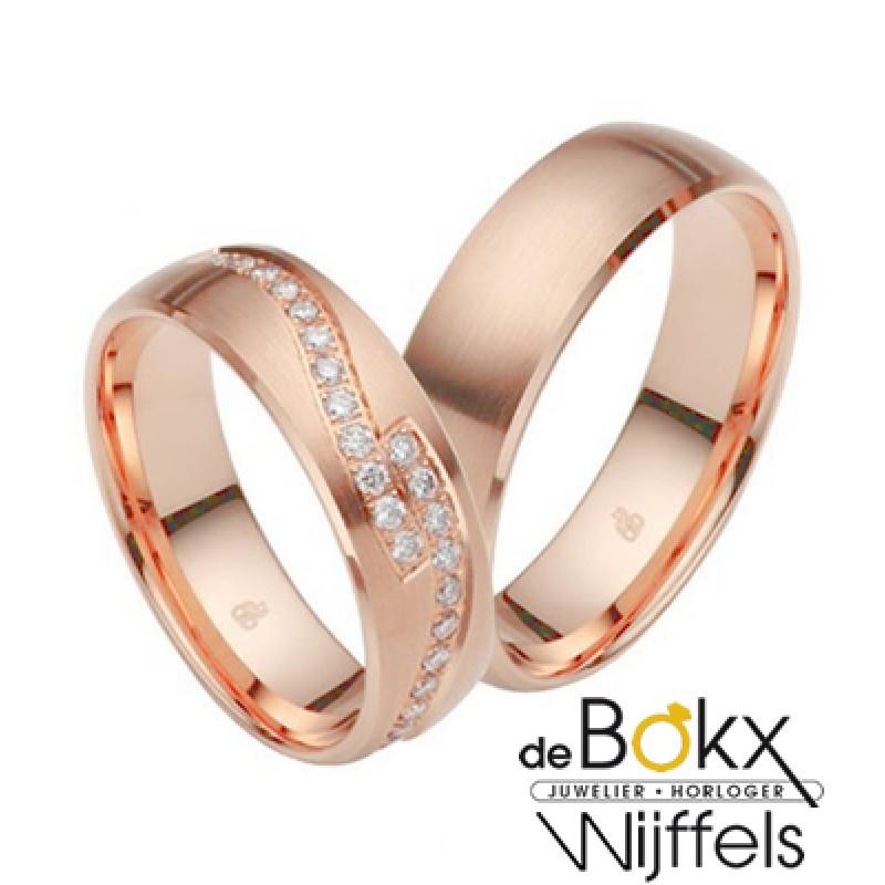 Diamanten trouwringen roze goud - 56922