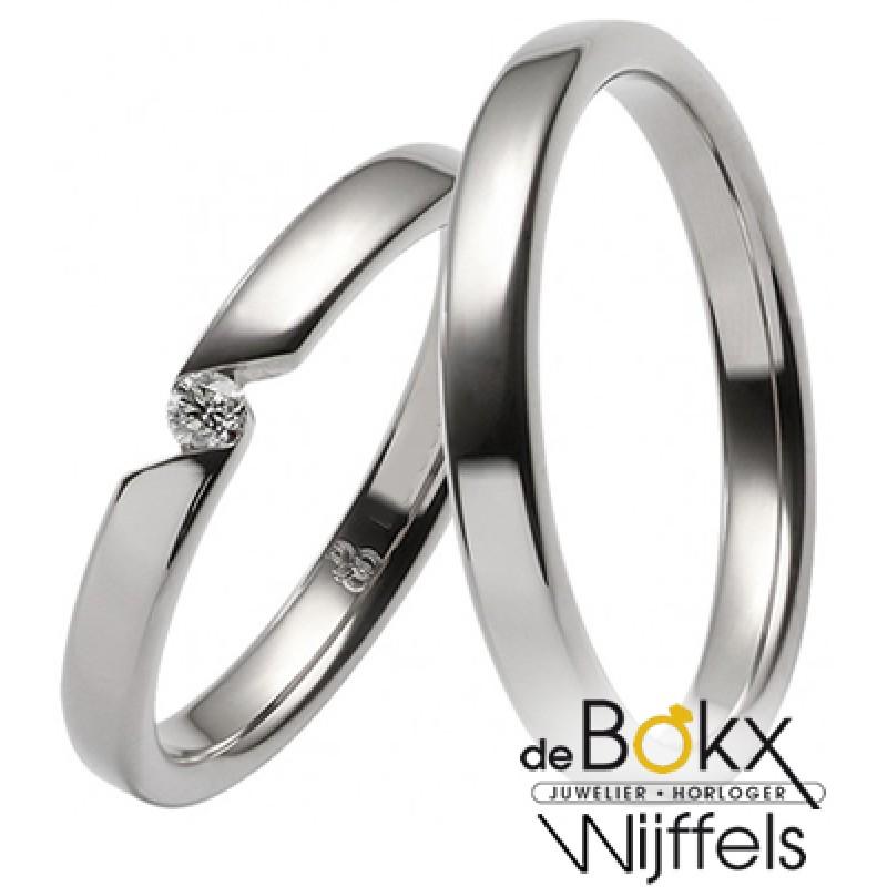 fijne wit gouden Rauschmayer trouwringen 8k - 56655