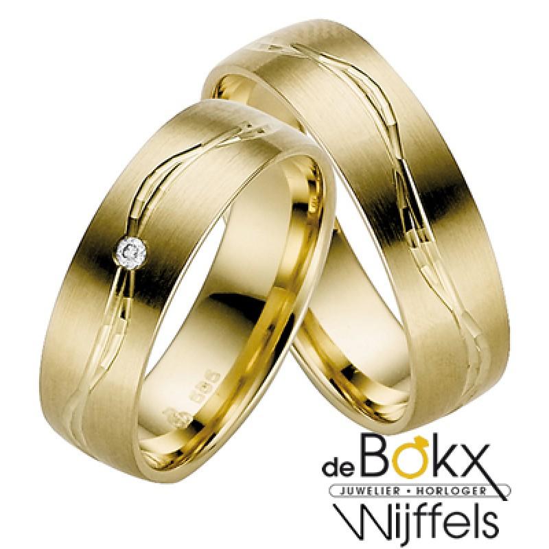 Brede geel gouden trouwringen van Rauschmayer 8K -...