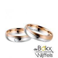 Trouwringen twee kleuren wit en roze goud rauschmayer - 56924
