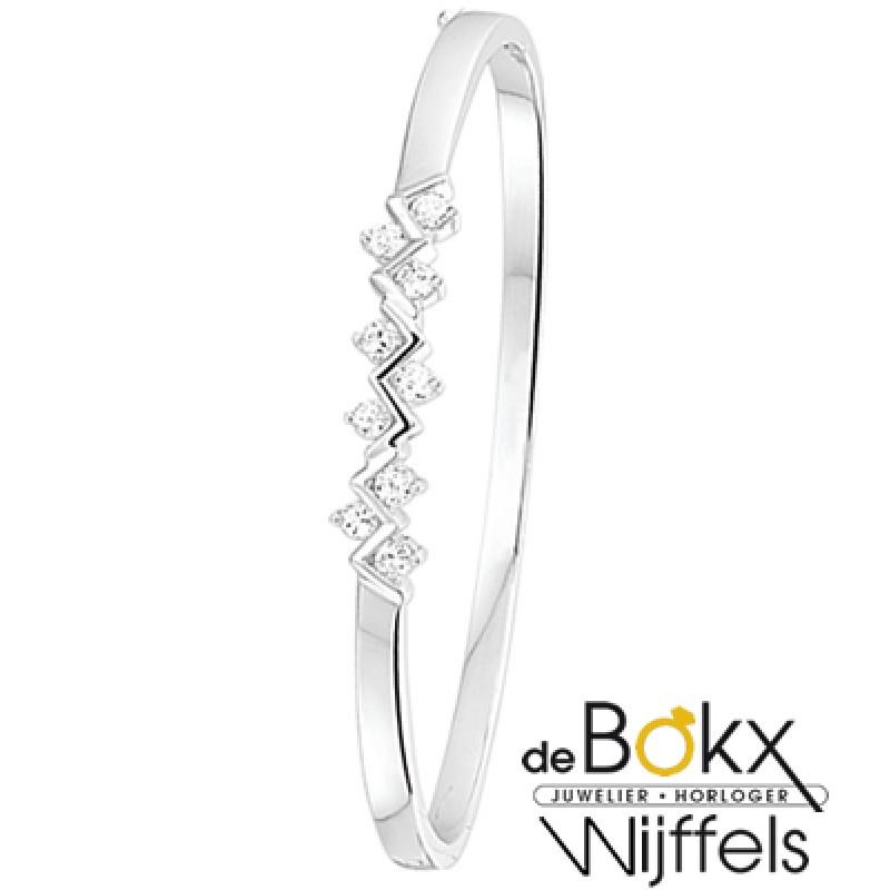 Armband bangel zilver met zirkonia - 50919
