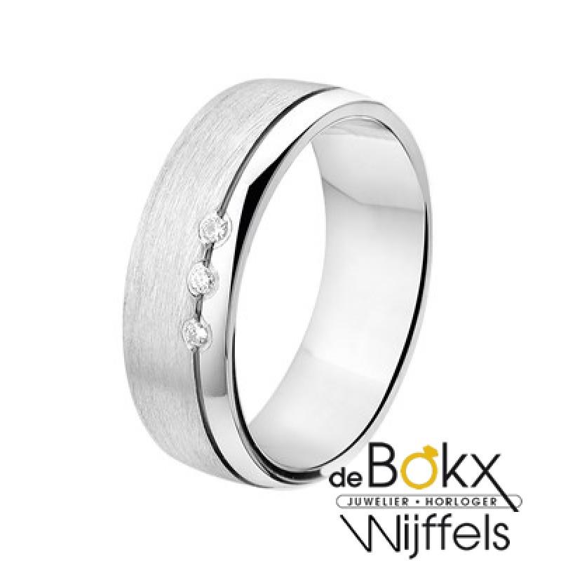 Trouwring zilver met diamant - 55455