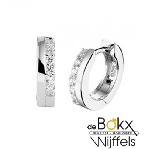 zilveren oorringen met zirkonia steentjes - 53615