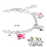 bedelarmband in zilver met hartjes en roze bedels - 55267