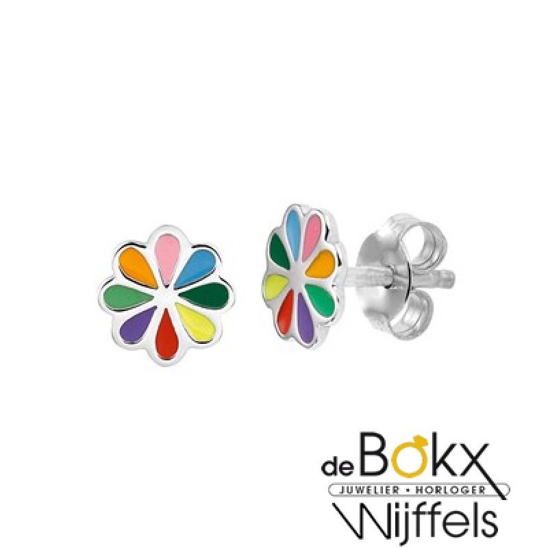 Bloem oorknoppen uitgevoerd in zilver met verschillende kleuren emaille - 55173
