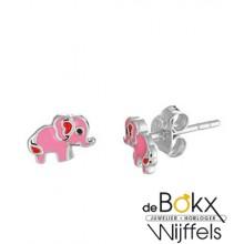oorknopen zilver roze olifant - 55917