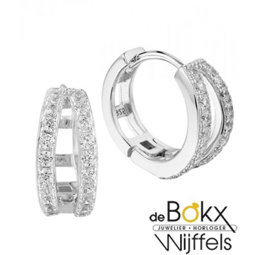 Zilveren oorringen met veel zirkonia steentjes - 57108