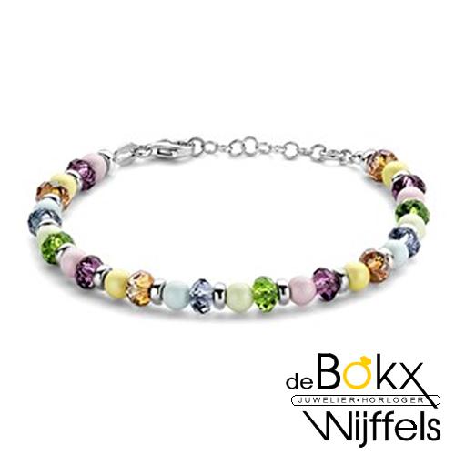 Kralen armband met diverse kleurstenen en zilver18+2.5cm - 57909