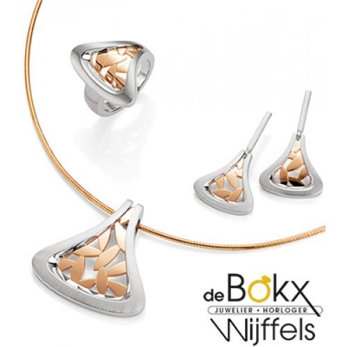 Breuning oorknoppen hangend met rozé accent - 54409