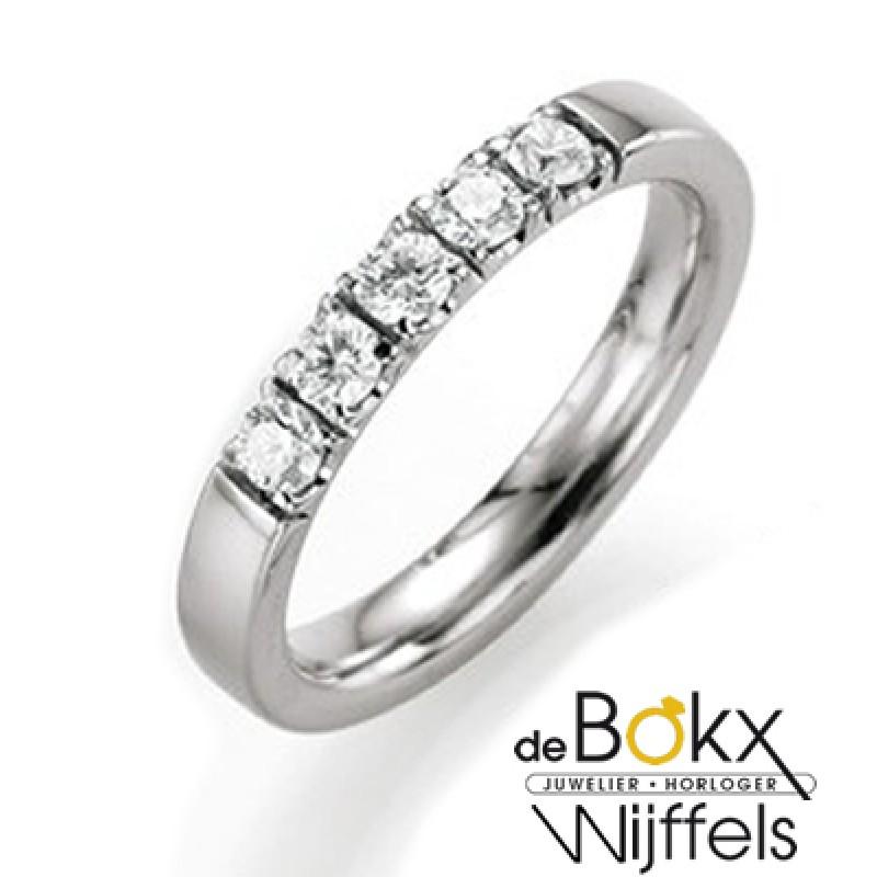 Wit gouden memoire ring met 5 diamanten - 55525