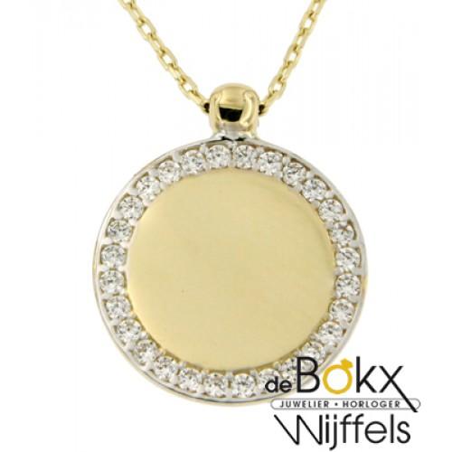 Gouden ashanger cirkel met zirkonia rij en graveerplaatje - 55004
