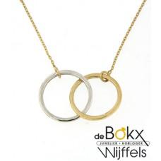 2 kleuren gouden ketting met ringetjes - 54995
