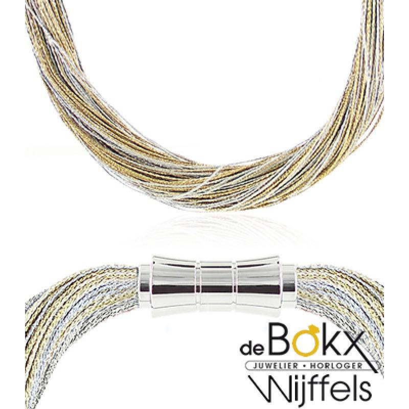 Set: Collier en armband zilver & goud zijde me...