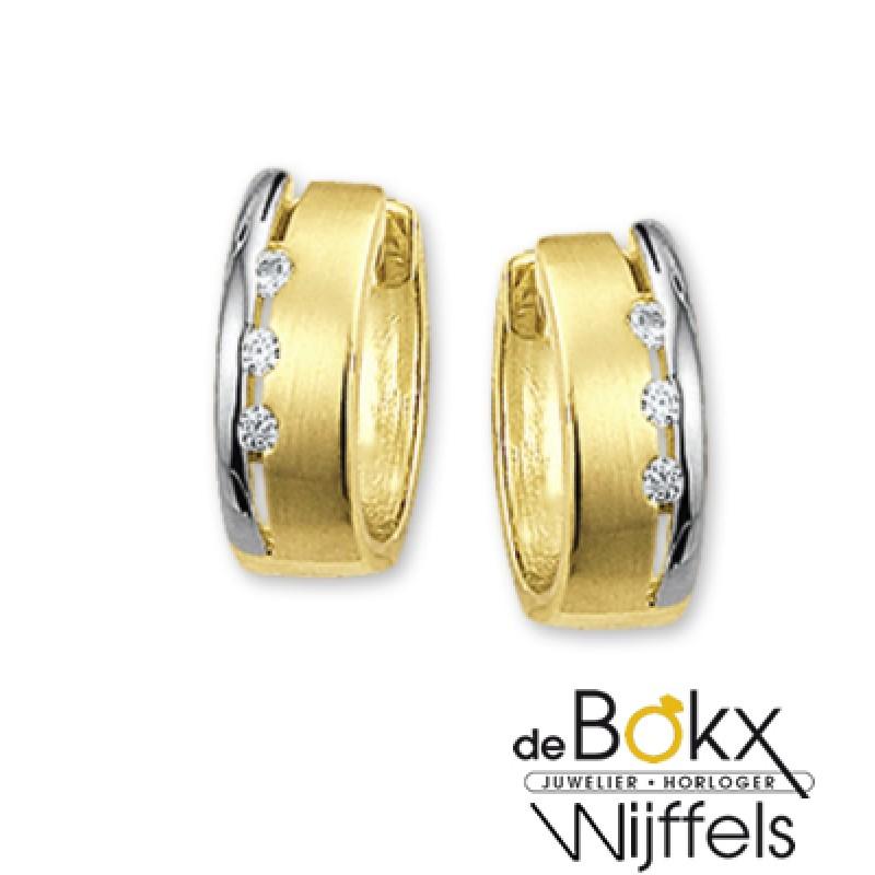 Bicolor gouden klap creolen met zirkonia - 50503