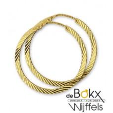 Gouden Creolen vierkante buis gediamanteerd - 52258
