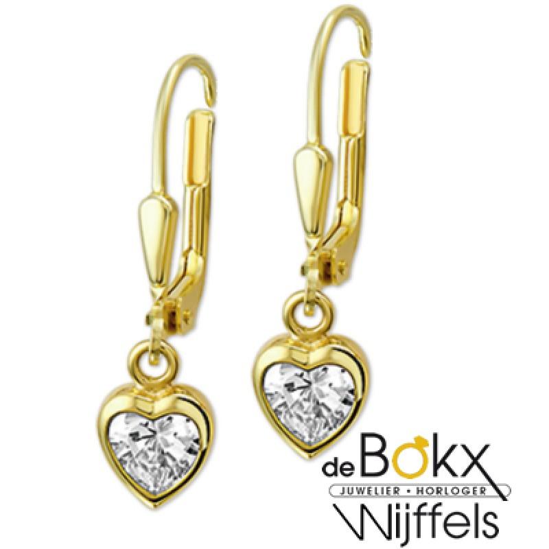 Geel gouden oorhangers met hart van zirkonia - 52885
