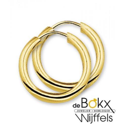 Creolen geel goud meet een ronde buis en een insteek sluiting - 55972