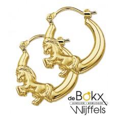 Gouden oorbel met paard - 52943