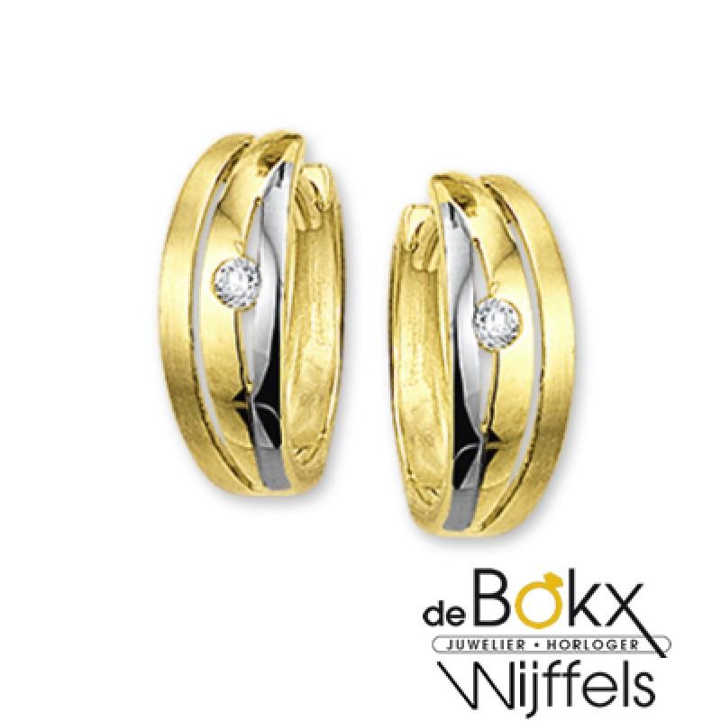 Bicolor gouden klapcreolen met zirkonia - 54279