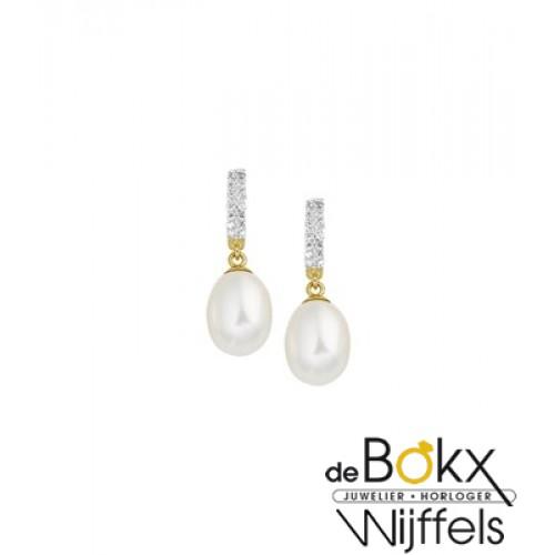 Geelgoud oorknoppen met parel hangers en zirkonia - 56129