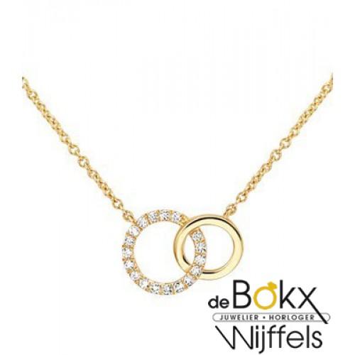 Geelgouden ketting met cirkels en diamanten. - 55723