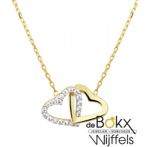 Geelgoud colliers met hartjes en zirkonia steentjes - 55728