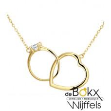 Aanzoek ketting met hartje en ring 40 - 42 - 44cm lang - 55741