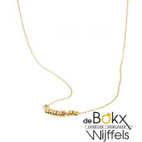 Geel gouden collier met ringetjes - 56695