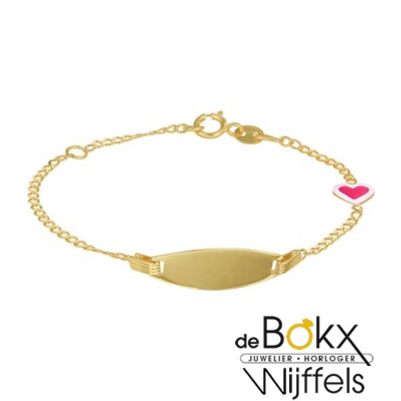 Geelgoud graveer armband - 56908