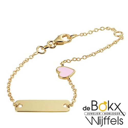 Gouden kinderarmband met naam en roze hartje - 56813