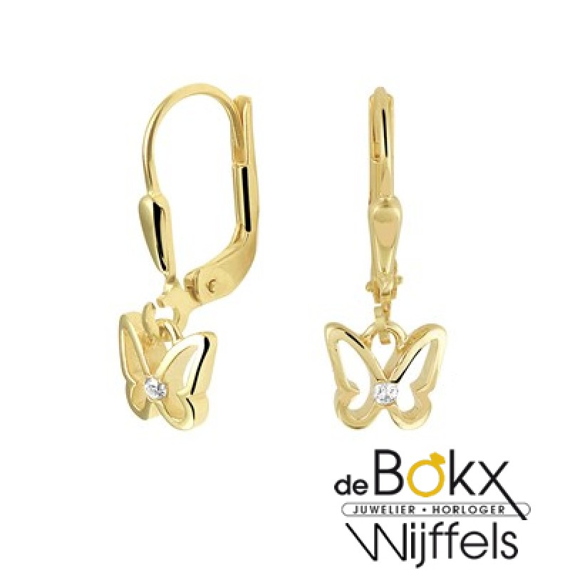 gouden oorringen kind vlinder - 56909