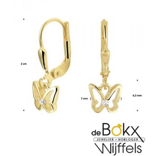 Gouden oorhangers met een vlinder - 56909