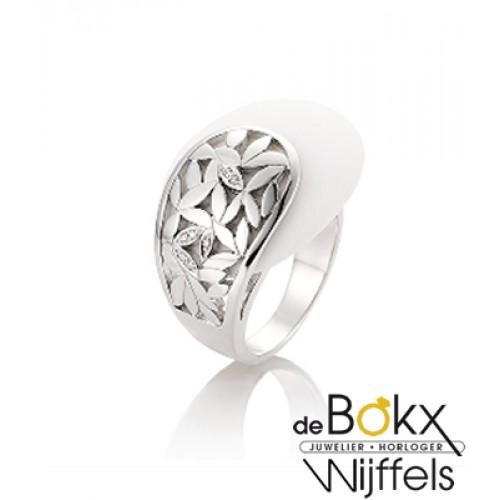 Breuning ring zilver met corian en diamant - 50249