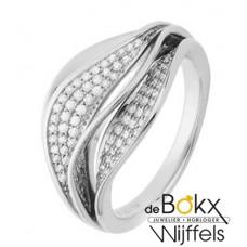 Bijzondere witgouden diamanten ring maat 17,25 - 56689