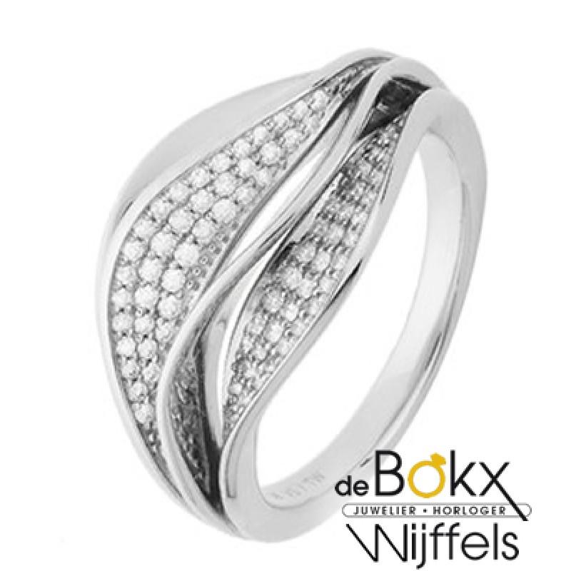 Bijzondere witgouden diamanten ring maat 17,25 - 5...
