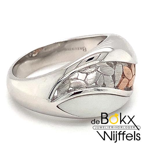 Ring breuning zilver met corian en rozé maat 58 - 55015