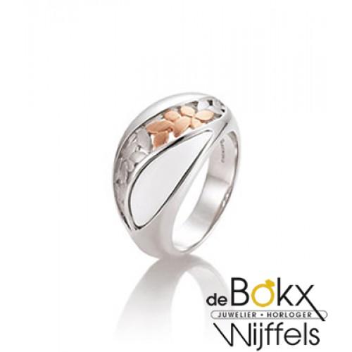 Ring breuning zilver met corian en rozé - 55015