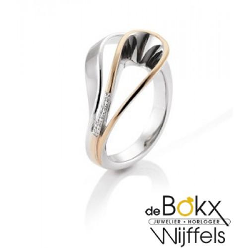 Breuning ring zilver met rozé en witte saffier - 54418