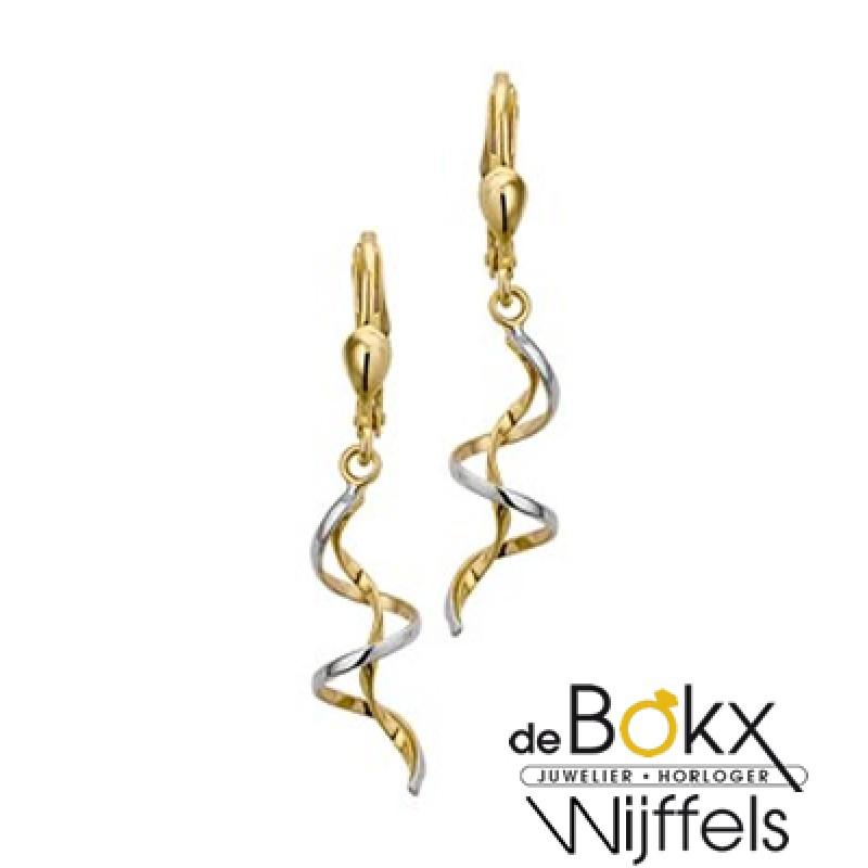 2 kleuren gouden oorhangers lang (speelse krullen) - 55753