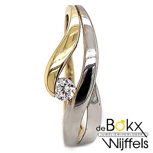 Gouden dames ring met zirkonia maat 54 - 52091
