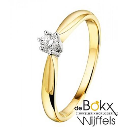 Gouden ring met diamant maat 53 - 56819