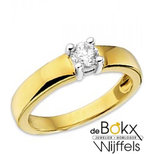 Gouden ring met zirkonia maat 57 - 54861
