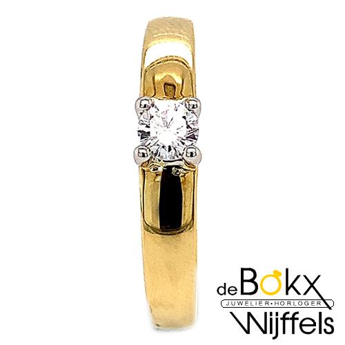 Verlovingsring bicolor goud met zirkonia maat 59 - 54868