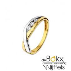 Fantasie ring Goud bicolor met zirkonia - 54869