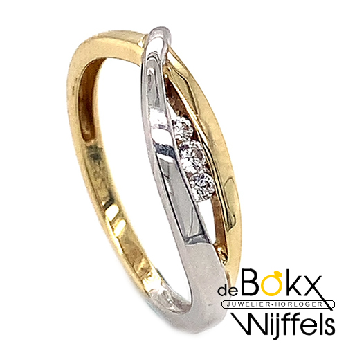 Gouden damesring met zirkonia maat 53 - 53078